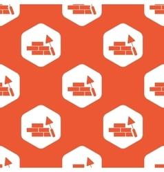 Orange hexagon building wall pattern vector image