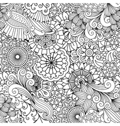 Ornamental background composed floral elements vector