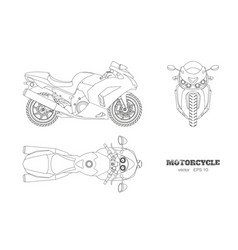 Outline drawing motorcycle vector