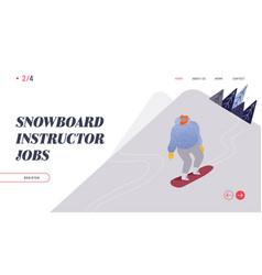 people snowboarding website landing page vector image