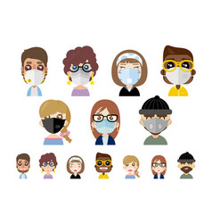 People wearing dust masks on white background vector