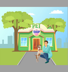 pet shop building in green park poster vector image
