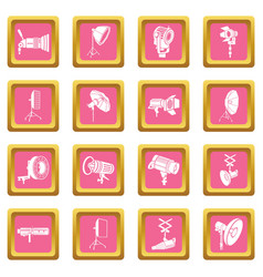 photography icons set pink square vector image