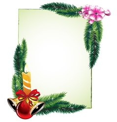 Pine branches and decorations vector image