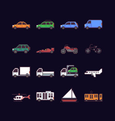 Pixel art transport vector