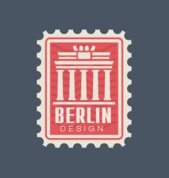 Postmark stamp germany with brandenburg gate vector