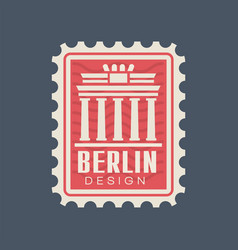 Postmark stamp of germany with brandenburg gate vector