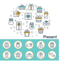 present banner in flat style outline icons vector image