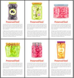Preserved food fruits and vegetables canned jars vector