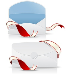 realistic envelope with red ribbon vector image