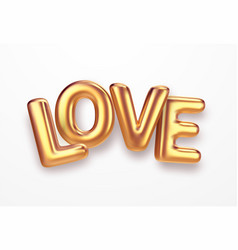 realistic gold metallic lettering love isolated on vector image