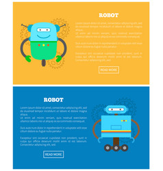 Robots with wheels and antennas internet banners vector