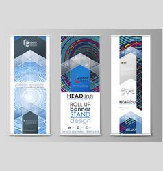 Roll up banner stands flat design templates vector