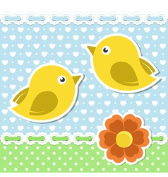 Romantic card with birds and flower vector image