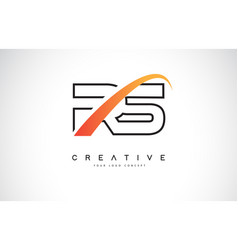 Rs r s swoosh letter logo design with modern vector
