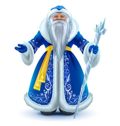 Russian santa claus grandfather frost in blue fur vector