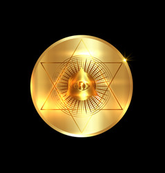 sacred masonic symbol all seeing eye gold round vector image