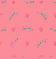 Seamless pattern with whales seashells marine vector