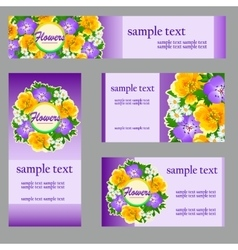 Set cards with a picture wild flowers vector