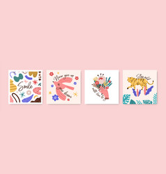 Set greeting cards with motivational phrases vector