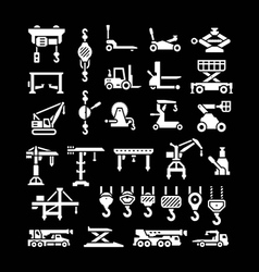 Set icons of lifting equipments vector image