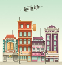 Small Town Street View with retro colors vector