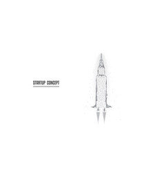 startup rocket from triangles and luminous points vector image