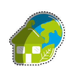 sticker green house with leaf and earth planet vector image