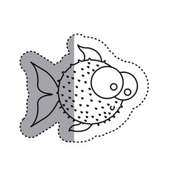 sticker silhouette blowfish aquatic animal icon vector image