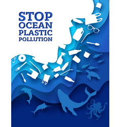stop ocean plastic pollution paper cut vector image