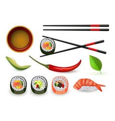 Sushi japanese seafood set with fresh rolls and vector