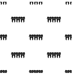 teeth with dental braces icon in black style vector image vector image