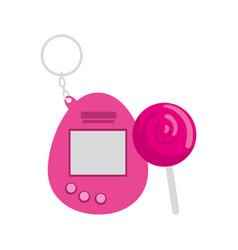 Video game mascot nineties with lollipop vector