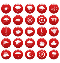 weather icons set vetor red vector image