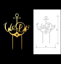 Wedding cake topper vector