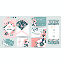 wedding invite invitation details menu vector image