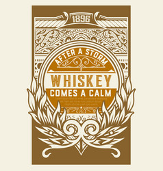 Whiskey label with floral details vector