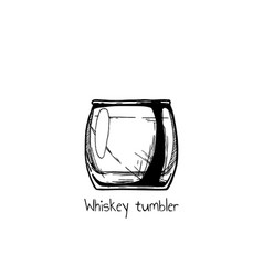 Whiskey tumbler glass vector