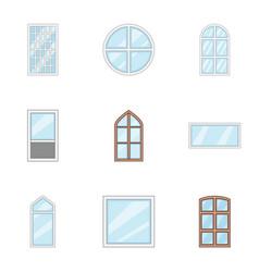 Window aperture icons set cartoon style vector