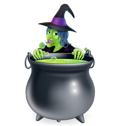 Witch and cauldron cartoon vector
