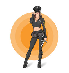 woman police cop officer cosplay vector image