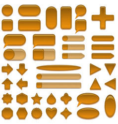 wood glass buttons set vector image
