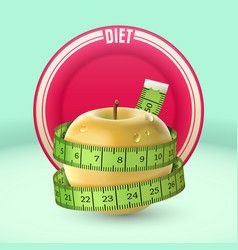 Yellow apple green measuring tape dish diet vector