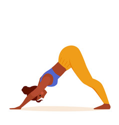 Yoga girl in down dog pose exercising on mat vector