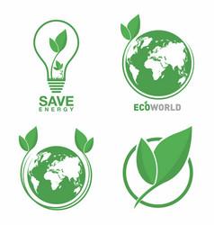 ecology logo set eco world green leaf energy vector image