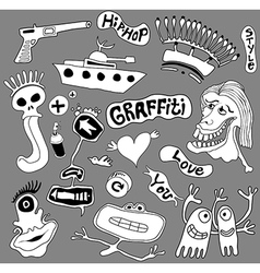 Graffiti elements urban art vector image vector image