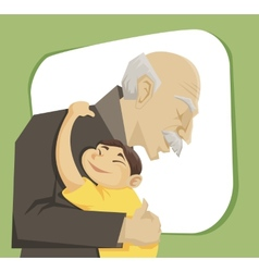 grandfather and grandchild vector image vector image