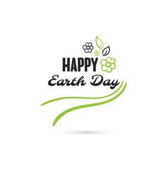 happy earth day flowers vector image