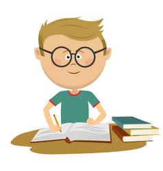 little nerd boy with glasses doing his homework vector image vector image