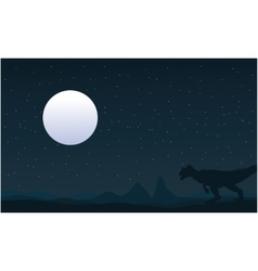 Silhouette of Allosaurus and moon landscape vector image
